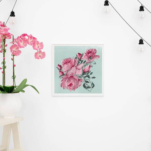 Pink Roses Oil Painting Fine Arts Print