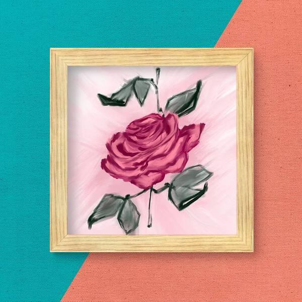 Single Pink Rose Oil Painting Fine Arts Print