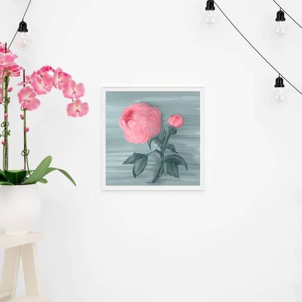 Pink Peony Flower Oil Painting Fine Arts Print