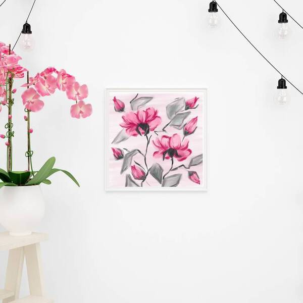 Pink Flowers Oil Painting Fine Arts Print