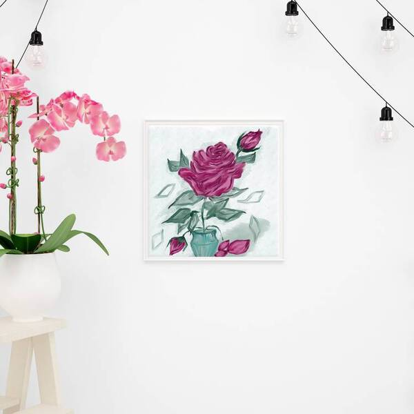 Rose in a Vase Oil Painting Fine Arts Print