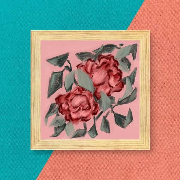Maroon Flowers Oil Painting Fine Arts Print