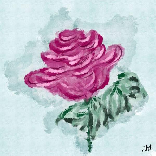 Magenta Rose Flower Oil Painting Fine Arts Print