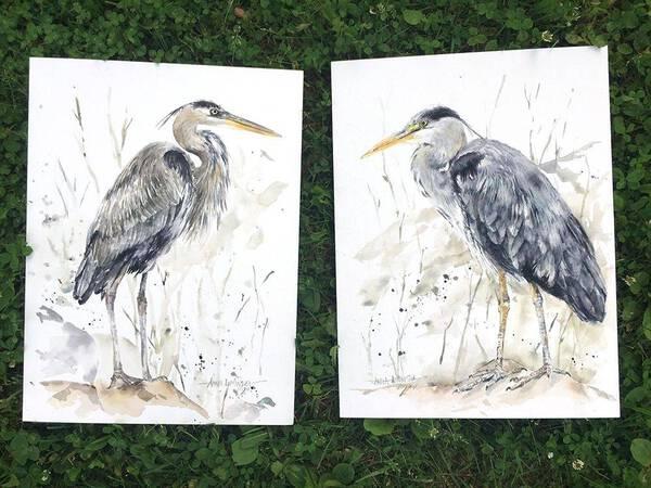 Two Herons 557+558