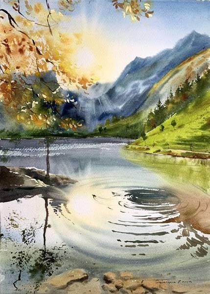 Autumn lake in the mountains #2