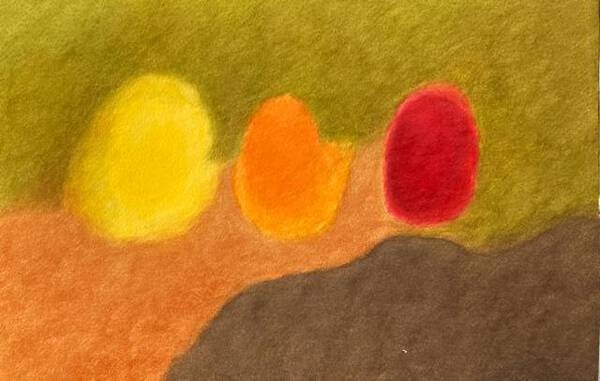 Yellow, orange, red