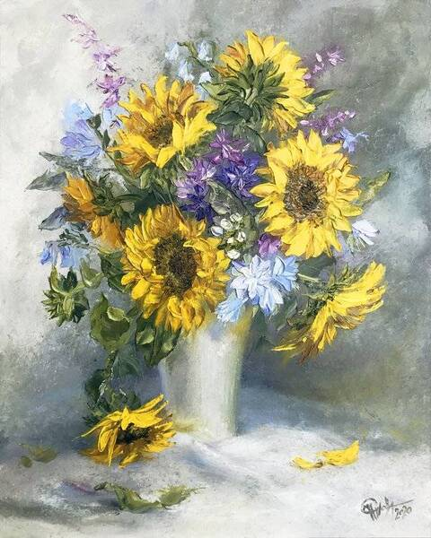 Bouquet with sunflowers in a white vase