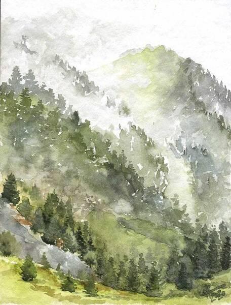 Fog in the Digor gorge. Mountains. North Ossetia-Alania