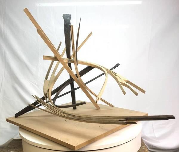 Oak & Steel Sculpture 5.1