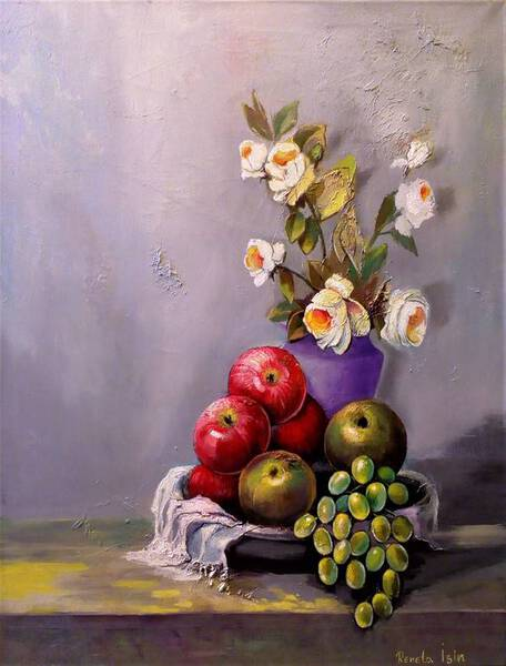 Still Life with Grapes, Roses and Apples