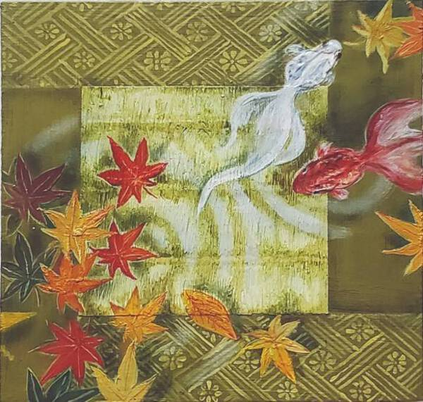Tatami and goldfish-autumn leaves-