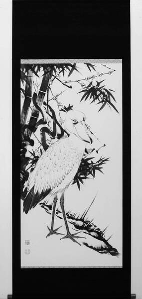 """Plum and Bamboo with Shoebill from RED LIST. a work based on the """"Pine,Plum and Bamboo with Cranes"""" by Ito Jakuchu."""