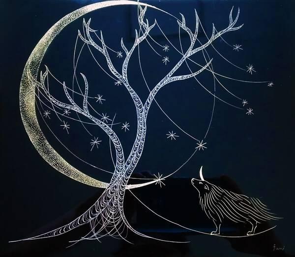 Unicorn and the tree full of stars