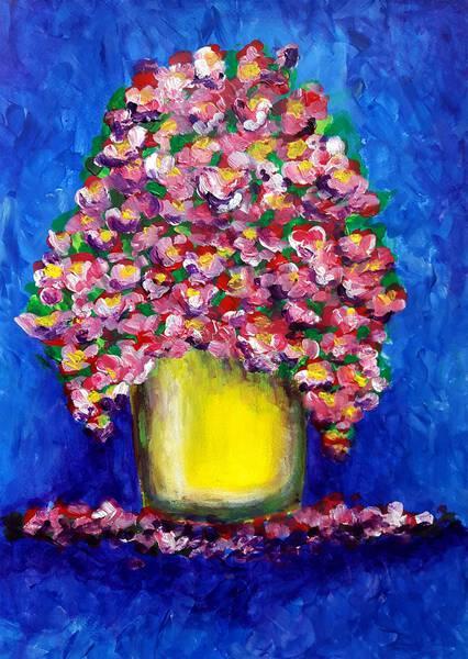 Bouquet in yellow vase