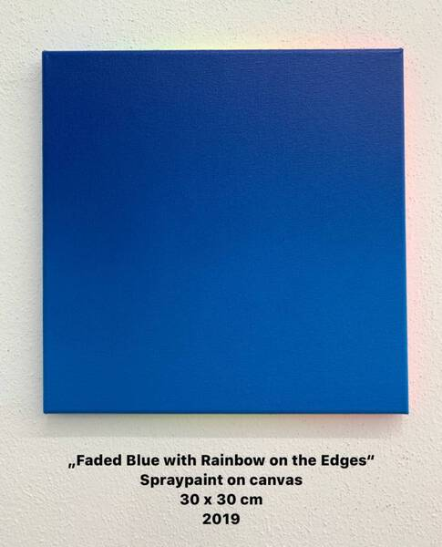 Faded Blue with Rainbow on the Edges