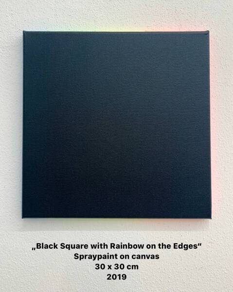 Black Square with Rainbow on the Edges