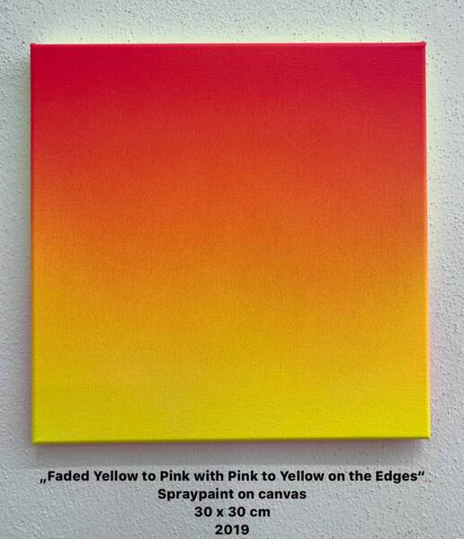 Faded Yellow to Pink with faded Pink to Yellow on the Edges