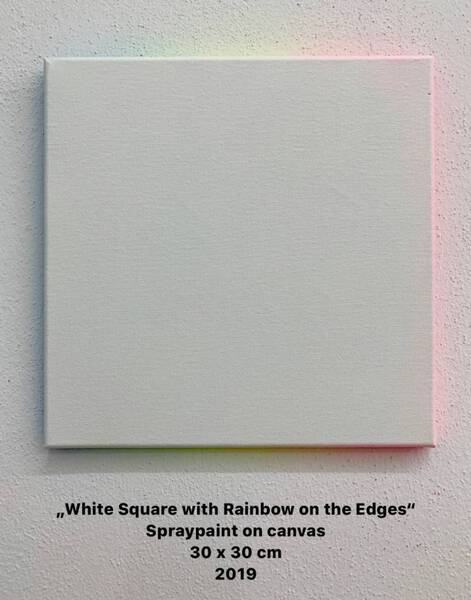 White Square with Rainbow on the Edges