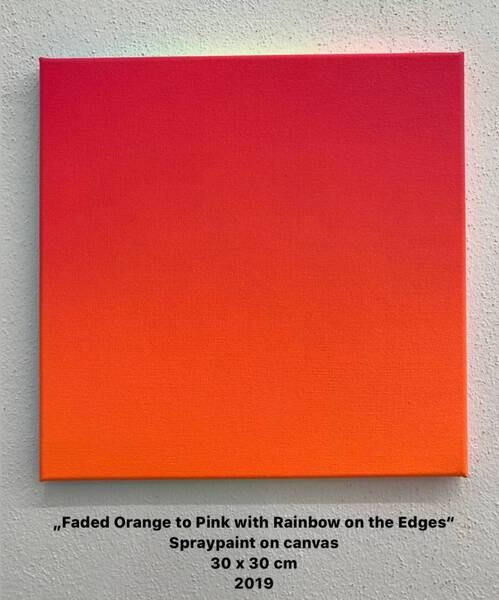 Faded Orange to Pink with Rainbow on the Edges