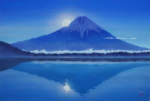 Moonlight and Mt. Fuji