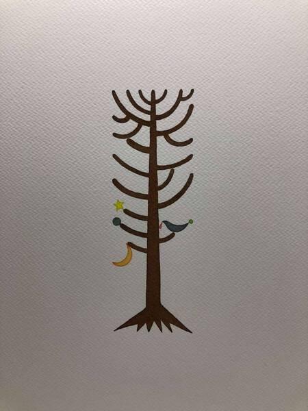 Pine with moom star and night