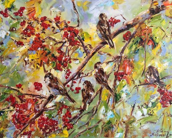 Sparrows in the Rowan Tree