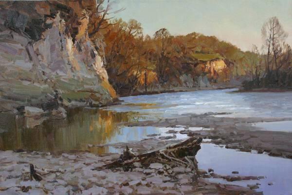 Spring, the river Zelenchuk.