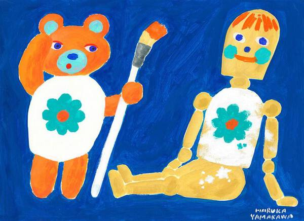 Teddy bear and drawing doll