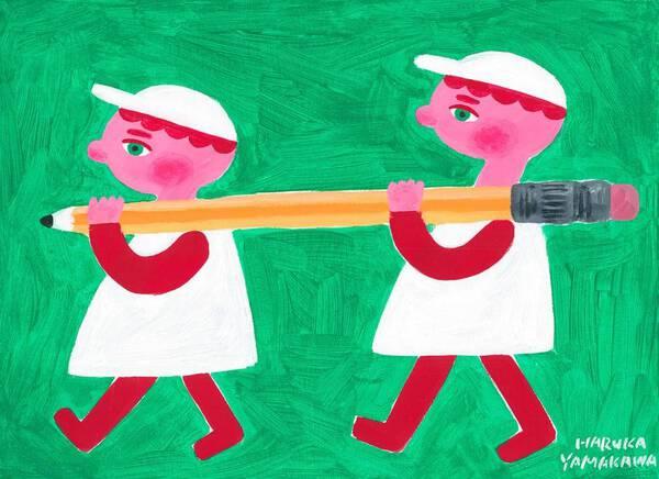 Block dolls and pencil