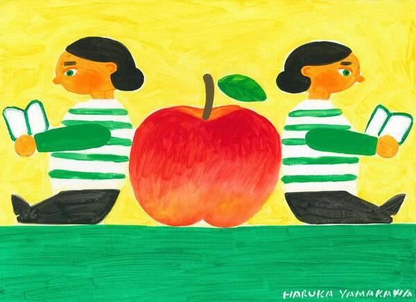Block dolls and apple