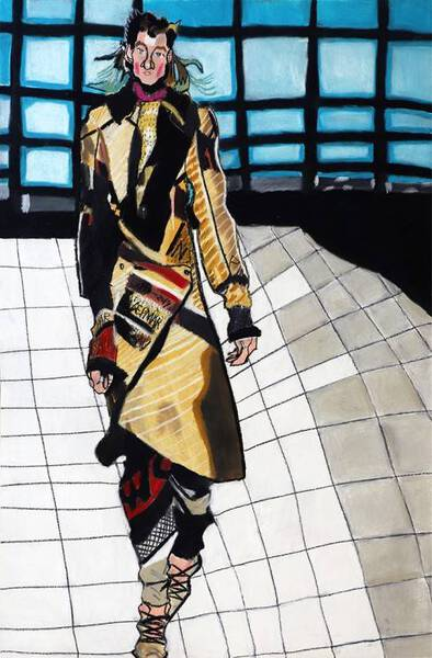 Woman in Striped pattern clothes