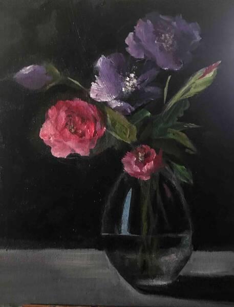 Lavender & Rose in Glass