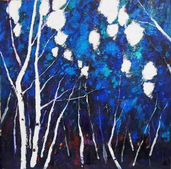 Blue birch forest