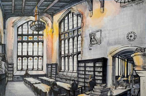 Sunset in a library
