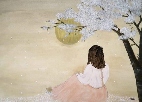 Under the sakura tree at moonlight