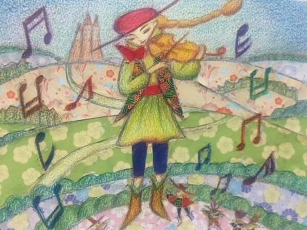 A big violin player.