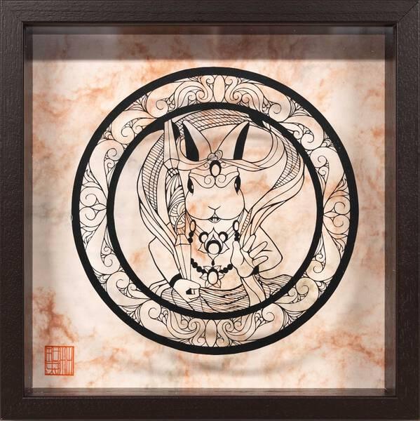 Rabbit agyo statue・阿形半身兎像