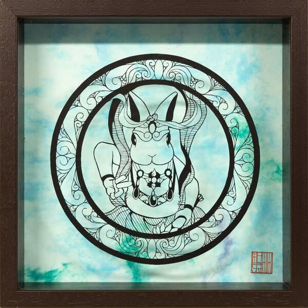 Rabbit ungyo statue・吽形半身兎像