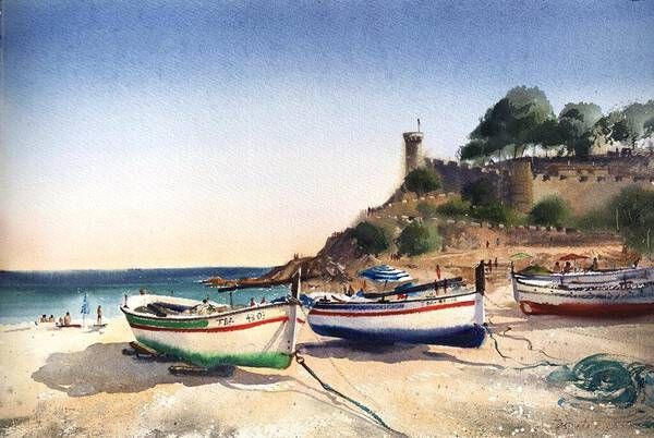 Boats on the beach in Tossa del Mar, Spain
