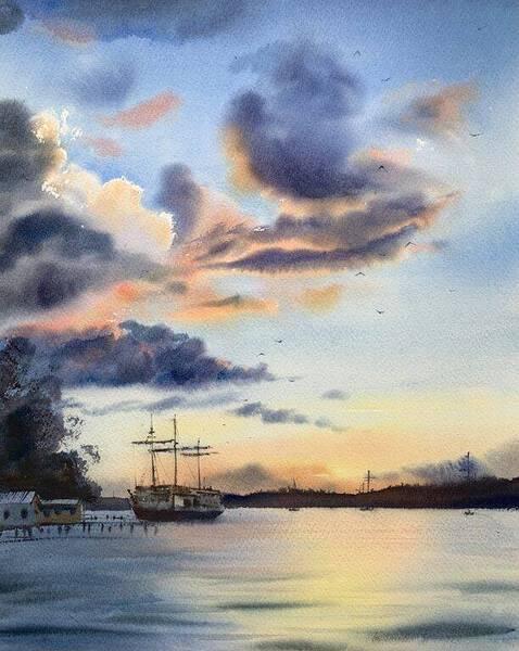 Anchored Sailing Ship