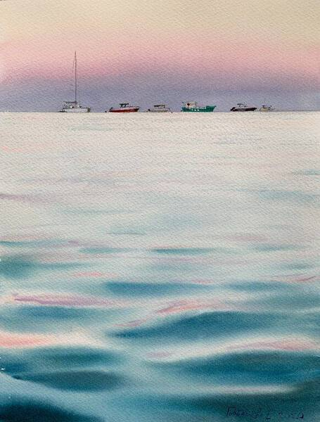 Pink sunset and turquoise sea