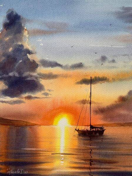 Sailing yacht and fire sunset #3