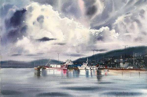Moored yachts and clouds, Palamos