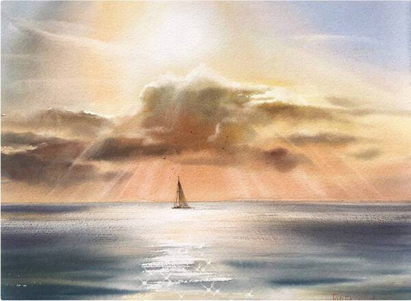 Sailboat and clouds #3