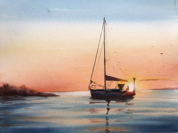 Sailing yacht and fire sunset #2
