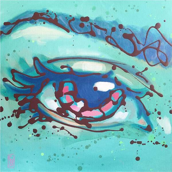 Pink Iris on turquoise background