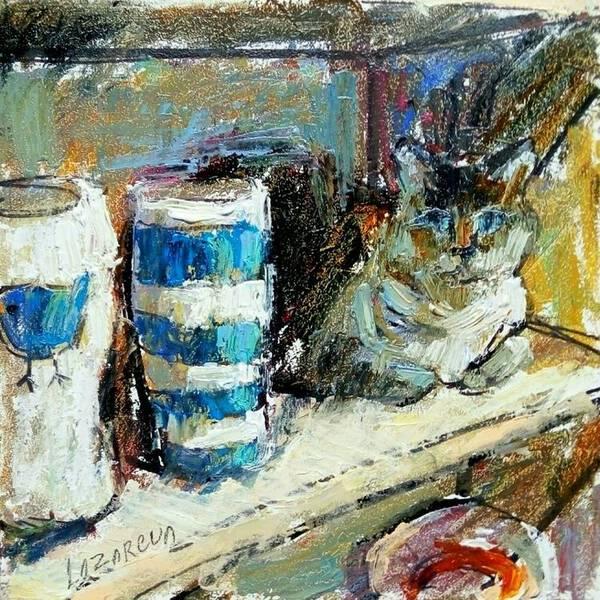 Pottery vases & cat
